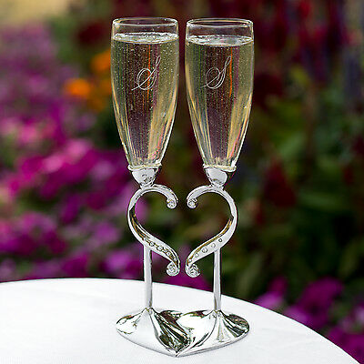Silver Interlocking Rhinestone Heart Wedding Toasting Glasses Champagne Flutes