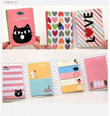 BLACK CAT Animal Post Bookmark Point Flags Marker Memo Tab Sticky Notes Sticker