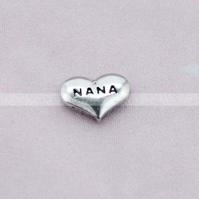 Alloy Floating Locket Charms NANA Silver for Glass Living Memory Lockets New 1p