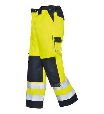 Hi Vis Two Tone Cargo Trousers Work Combat High Visibility 2 Tone Yellow Navy
