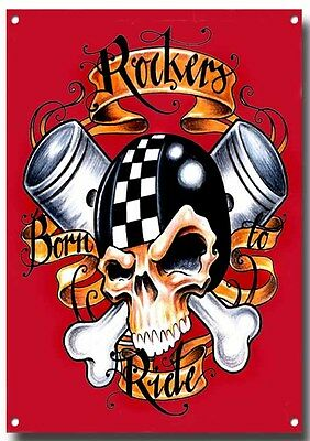 Rockers Born To Ride Enamelled Finish Metal Sign.