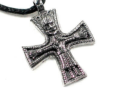 Hand made Viking cross, crucifix Pewter Pendant, Celtic Norse, Odin