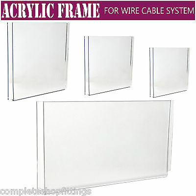 Easy Access Acrylic Poster Holder Retail Shop Window Wire Cable Display Stand