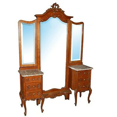 Antique Louis XV Chevel Mirror with Commodes #1875