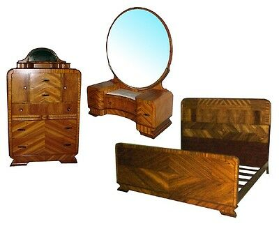 Art Deco Bed Set, 3-piece, beautiful burl veneers c. 1930 #4569