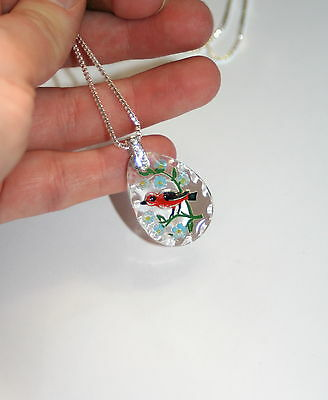 Vintage reverse carved glass intaglio Red bird sterling silver artisan necklace