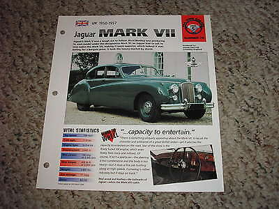 UK 1950-1957 Jaguar MARK VII Hot Cars Group 5 # 76 Spec Sheet Brochure