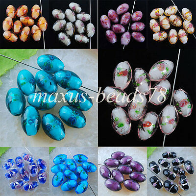 Free shipping NEW Fashion Lampwork Glass Rice Loose Beads Spacer MBW036