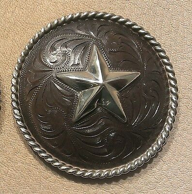 """2 1/2"""" Hand Engraved Rust / Brown Iron Concho w/Heavy Rope Edge & Star"""