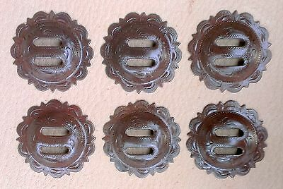 """6 - 1 1/2"""" Hand Engraved Slotted Brown iron Pico Conchos -  Saddle Headstall"""