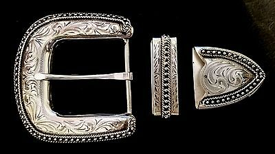 """1 1/2"""" Hand Engraved Silver Buckle Set w/Rope & Bead Edge and Antique finish"""