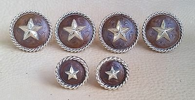 Saddle Set  >> Hand Engraved Rust / Brown Iron Conchos w/Heavy Rope Edge & Star