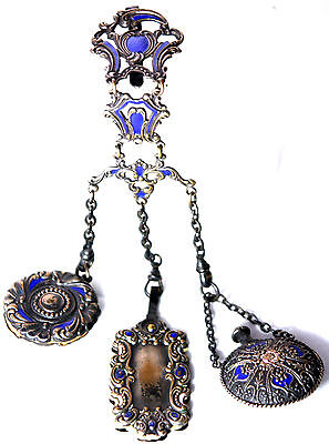 ANTIQUE c1800's BLUE BEAUTIFUL~~ VICTORIAN ladies 3 ARM enamel CHATELAINE~~
