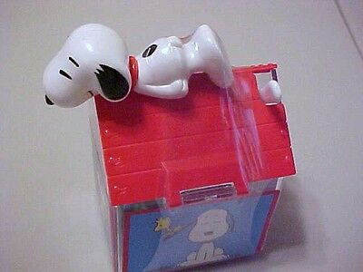SNOOPY CANDY CONTAINER AIR PLANE RACER DOG HOUSE LOT OF 3