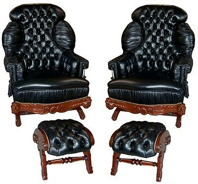 Pair of Victorian Turkish Rockers & Footstools in Black Leather 1800-1899 #4501
