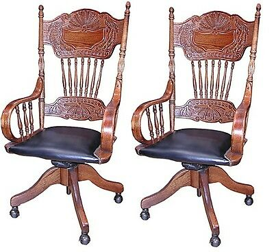Pair of Antique Spindle Back Chairs with Brown Leather 1900-1950 #4150