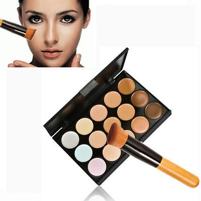 New 15 Colors Contour Face Cream Makeup Concealer Palette + Powder Brush C-63