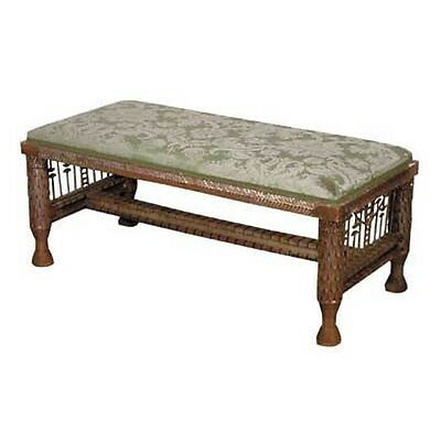 Antique Gilt Wood Bench w/ Lotus Carvings 1900-1950, France  #4409