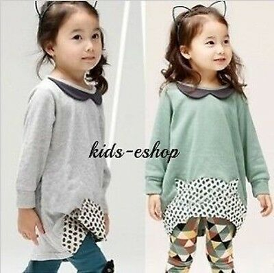 Girl 2 Piece Outfit Set Tunic Top Leggings Grey Green Summer Spring Party 3-8Y