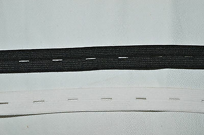 BUTTON HOLE ELASTIC 20mm CHOICE OF BLACK OR WHITE FASTENING