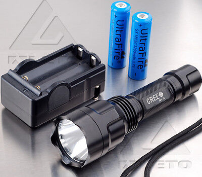 Outdoor 2200 Lm Aleto C8 CREE XM-L T6 LED Flashlight Torch Lamp 18650+Charger
