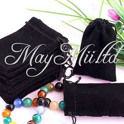 20 X Black Velvet Drawstring Jewelry Ring  Necklace Gift Bags Pouches Sale Hot J