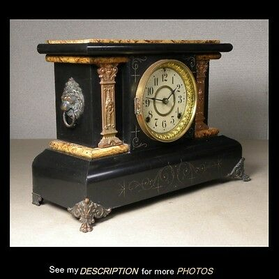 Antique Seth Thomas Butterscotch & Black Adamantine Mantle Clock Ladies Heads