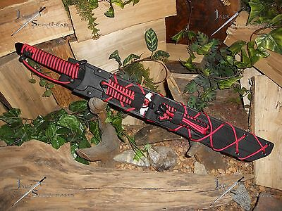 Sword/Knife/Bowie/Harpoon/Spear/Full tang/440SS/Zombie/Paracord survival kit/RED