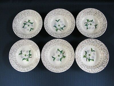 "6 Taylor Smith & Taylor China 5 3/8"" Berry Bowl Dogwood Leaves Dishes"