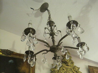 Vintage Brass and Crystal Chandelier, 5 Lights, Made in Spain