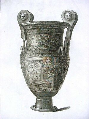 Antique 18th Century French Engraving Ancient Greek Large Urn w. Faces # 4