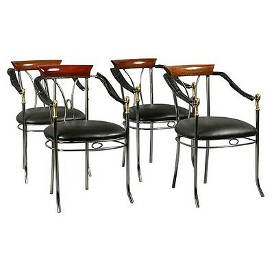 Chrome and Bronze Chairs, Mid Century, Swan Arms  Set of 4 1900-1950 #7401