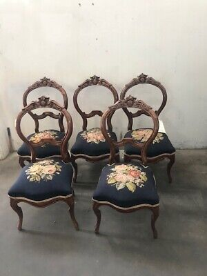 Victorian Set of Six Antique American Needle Point Chairs 1800-1899#5674