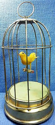 Vintage Bird Cage Music Box - Music Plays and Bird Moves Great!