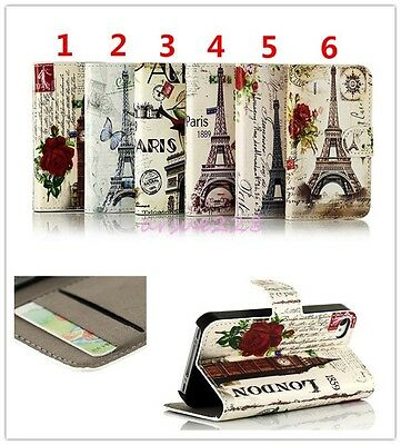 Deluxe Retro Building Stand Flip PU Leather Wallet Cover Case For Various Phones