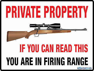 Private Property -- Gun / Riffle Sign -- 600 X 450Mm -- Colorbond / Metal Sign