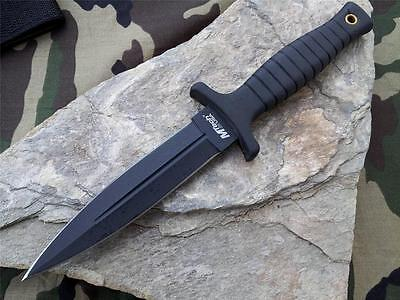 "MTech 9"" Double Edge Belt Boot Field Knife Dagger Black NEW with sheath 097"