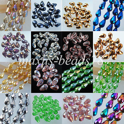 Top Quality Czech Crystal Faceted Drop Loose Beads 8x11MM 10P/30P/60PCS MBA031