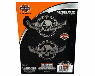 Harley Davidson Set Of 2 Chrome Skull With Wings Decal ** Made In The Usa **