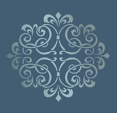 LARGE WALL DAMASK MYLAR STENCIL PATTERN FAUX MURAL DECOR #1012 (Choose Size)