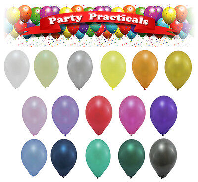 """BALLOONS, HELIUM QUALITY latex 12"""" Metallic Pearlised Party Balloons"""