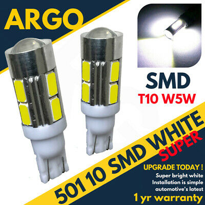 501 10 Led Smd Number Plate Bulbs White Xenon T10 W5W 194 Wedge Lamp Light X2
