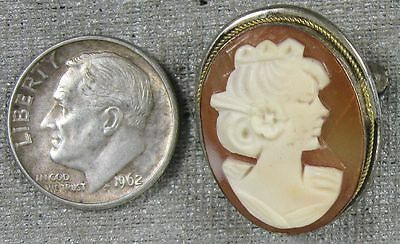 Vintage 1930's 800 Silver & Carved Shell Cameo Pin Pendant