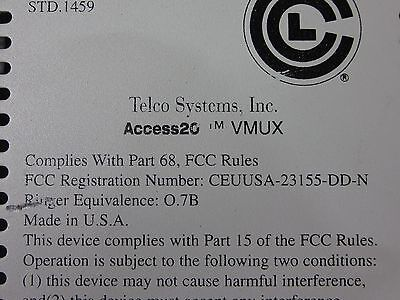 Telco Systems Access 20 24 Channel Voice Mux Incl 2 003-0001 Rev 3.2 Line Cards