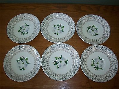 "6 Taylor Smith & Taylor China 6"" Saucers Dogwood & Green Leaves Dishes"