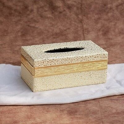 White Gold PU Leather Tissue Box Cover Paper Holder Rectangle Home Decor