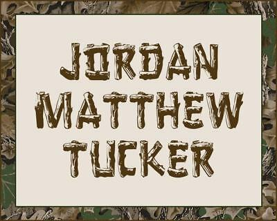 "CAMOUFLAGE 8"" x 10"" PERSONALIZED NAME WALL PRINT"