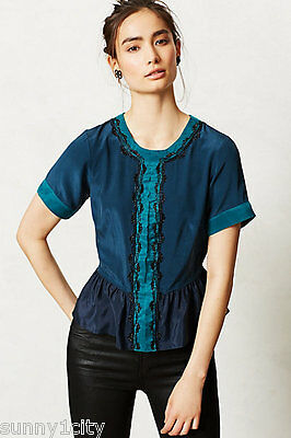NEW M Anthropologie Channeled Ciel Top By Carnation Lily Lily Rose RARE Silk