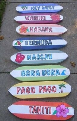 Custom Hand Painted Wood Tropical Surfboard Location Sign  Artwork Beach Name