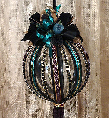 Black Victorian Hanging Christmas Ornament / Vintage Style / Hand Decorated BLK2